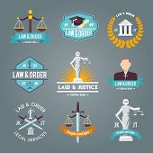 stock photo of justice law  - Law and order legal service justice procedures company labels flat symbols collection icons set isolated vector illustration - JPG