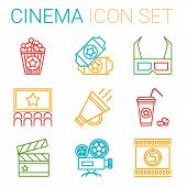 Постер, плакат: Flat line icons set of professional film production movie shooting studio showreel actors casting
