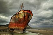 foto of shipwreck  - Abandoned and rusty shipwreck in Argentina  - JPG