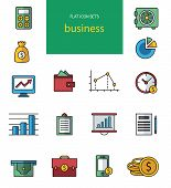 Vector collection of flat and colorful web icons on SEO, business, shopping and technology theme. De