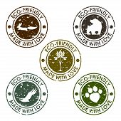 Round Old Distort Eco Stamp Set For Use In Design