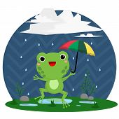 picture of dancing rain  - a vector of a frog and rain - JPG