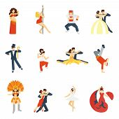 stock photo of jive  - Social dancing festival elegant waltz tango oriental dance icon flat set isolated vector illustration - JPG