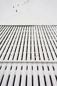 Perspective Lines Berth Of Wooden Boards Covered With Snow In Winter
