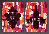 Set Of Abstract Colorful Cocktail Glass And Wine Bottle Seamless Pattern. Concept For Bar Menu, Part