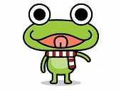 Green frog standing raise hand a smiley face and stick its tongue out