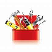 Tools Box Isolated On White Vector