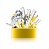 Engineer Tools Box Isolated On White Vector
