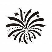 stock photo of single  - Beautiful black single vector abstract firework icon isolated - JPG