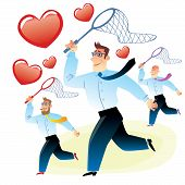 picture of office romance  - office workers men in search of love caught red heart butterfly net for butterflies - JPG