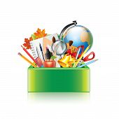 School Supplies Box Isolated On White Vector