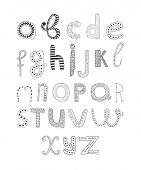 pic of hand alphabet  - Vector hand drawn alphabet isolated on white background - JPG