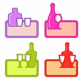 set alcohol bottles with glasses on colorful tray