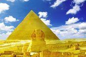 Great Pyramid Of Pharaoh Khufu, Located At Giza And The Sphinx.