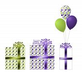 stock photo of dots  - Three beautiful green and purple gifts with polka dots - JPG