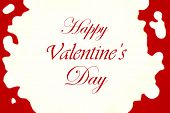 Valentines Day Lettering Background With Abstract Bokeh Red Hearts.  Happy Valentine's Day Card   Wi