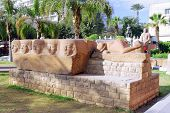image of front-entry  - Cairo Museum of Egyptology and Antiquities. Exhibits in front of the museum.