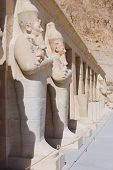 stock photo of hatshepsut  - Statue of Queen Hatshepsut - Temple at Luxor .Egypt
