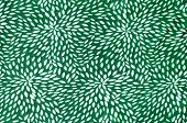 Abstract Floral Pattern On Green Fabric.
