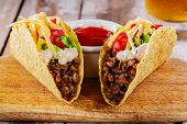 foto of tacos  - tacos with minced meat with cheese and tomatoes - JPG