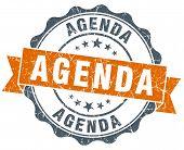 Agenda Orange Vintage Seal Isolated On White