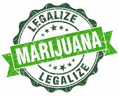 Legalize Marijuana Green Vintage Seal Isolated On White