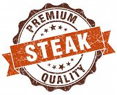 Steak Brown Vintage Seal Isolated On White