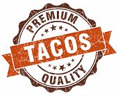 Tacos Brown Vintage Seal Isolated On White
