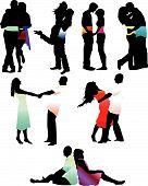 stock photo of hughes  - Set of happy love couple silhouettes - JPG