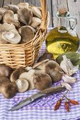 Basket With Mushrooms And Ingredients For Cooking