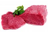 picture of boeuf  - Cut of beef steak with green leaf - JPG