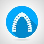Flat round icon for brick lancet arch
