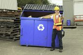 pic of bio-hazard  - A worker who recycling thing on recycle center - JPG