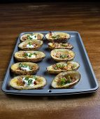 Close Up Shot Of Fully Loaded Potato Skins