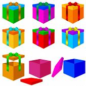 Collection of colorful box christmas gifts with Bow. Vector illu