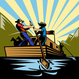 stock photo of flatboat  - Illustration of a Cowboy man steering flatboat along river - JPG