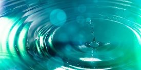 pic of groundwater  - a single drop of water in beautyful green colors - JPG