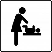 stock photo of diaper change  - Baby Changing Room Sign Vector illustration isolated - JPG