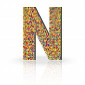 foto of letter n  - Colorful 3D Alphabet Letter N with reflection on white glossy surface - JPG