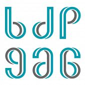 foto of letter p  - vector decorative letters b d p g a numbers 6 9 - JPG
