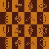 stock photo of aborigines  - Seamless background with symbols of Australian aboriginal art for your design - JPG