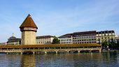 stock photo of chapels  - famous wooden Chapel Bridge in Lucerne Switzerland - JPG