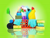 picture of housekeeping  - Cleaning supplies in a basket  - JPG