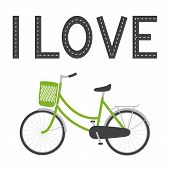 image of racks  - Bike with green colored female frame green pannier on handlebar rear rack big dark grey saddle big wheels with mudguards and bike lane in the shape of I love lettering above it isolated on white background - JPG