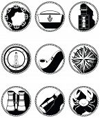 foto of rudder  - Nautical elements IV icons in knotted circle including sailors hat - JPG