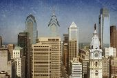 stock photo of city hall  - Vintage view of the Philadelphia skyline with City Hall in the front - JPG