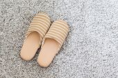 picture of guest-house  - Soft brown color slippers on carpet  - JPG