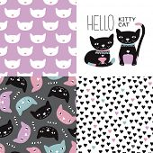 stock photo of kitty  - Hello Kitty cat postcard cover design and seamless kitten and cat illustration background pattern in vector - JPG