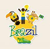 stock photo of armadillo  - Brazil design over beige background - JPG