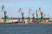 picture of dock  - Old cranes in a dock - JPG